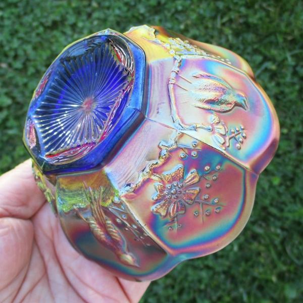 Antique Northwood Blue Singing Birds Carnival Glass Berry Bowl