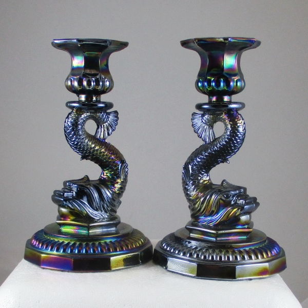 AA Imports Dolphin Black Amethyst Carnival Glass Candlesticks