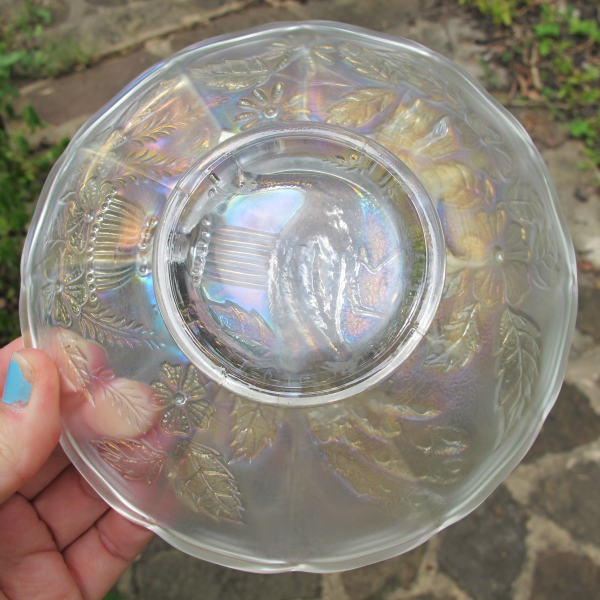 Antique Northwood Peacock and Urn White Carnival Glass Flared Berry Bowl