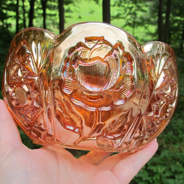 Antique Eda Brockwitz Rose Garden Marigold Carnival Glass Bowl