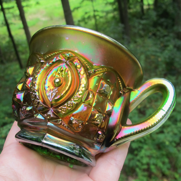 Antique Northwood Memphis Green Carnival Glass Punch Cup