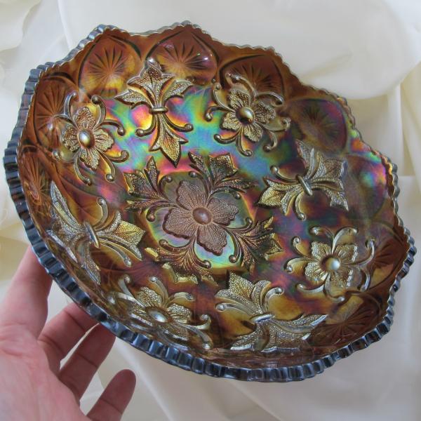 Antique Millersburg Fleur de Lis Amethyst Carnival Glass Round Bowl