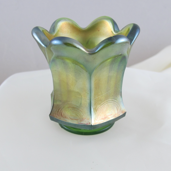 Antique Imperial Flute Green Carnival Glass Toothpick Holder
