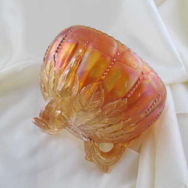Antique Northwood Leaf & Beads Pumpkin Marigold Carnival Glass Rose Bowl w Beaded Rim