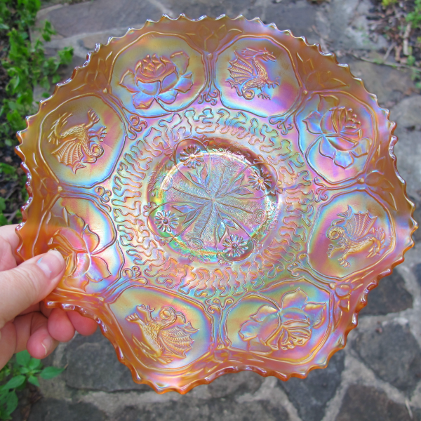 Antique Fenton Dragon & Lotus Marigold Carnival Glass Bowl - PINK!