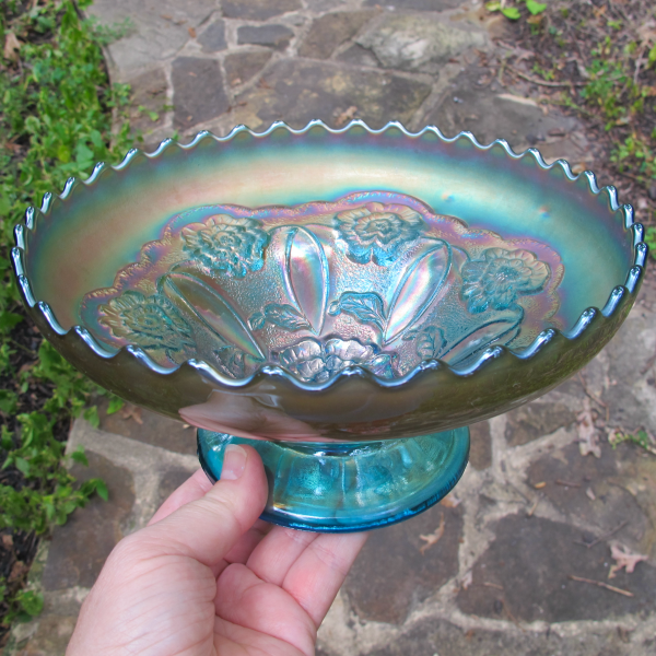 Antique Dugan Sapphire Blue Double Stem Rose Carnival Glass ICS Bowl - RARE
