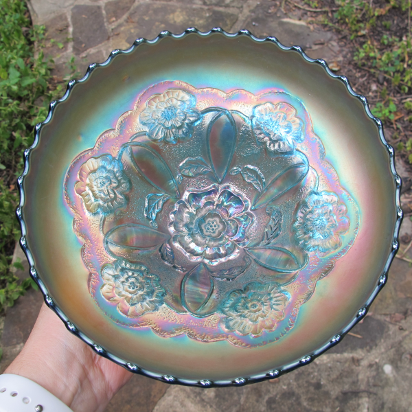 Antique Dugan Sapphire Blue Double Stem Rose Carnival Glass ICS Bowl - RARE
