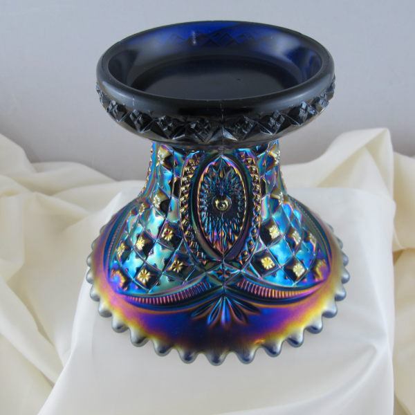Antique Northwood Electric Blue Memphis Carnival Glass Punch Base - RARE