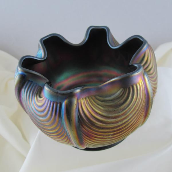 Antique Northwood Amethyst Drapery Carnival Glass Rose Bowl - Smooth Rim