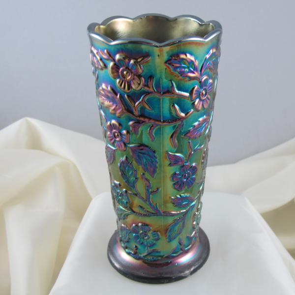 Fenton Dark Amethyst Peacock Garden Carnival Glass Vase #8257 CN