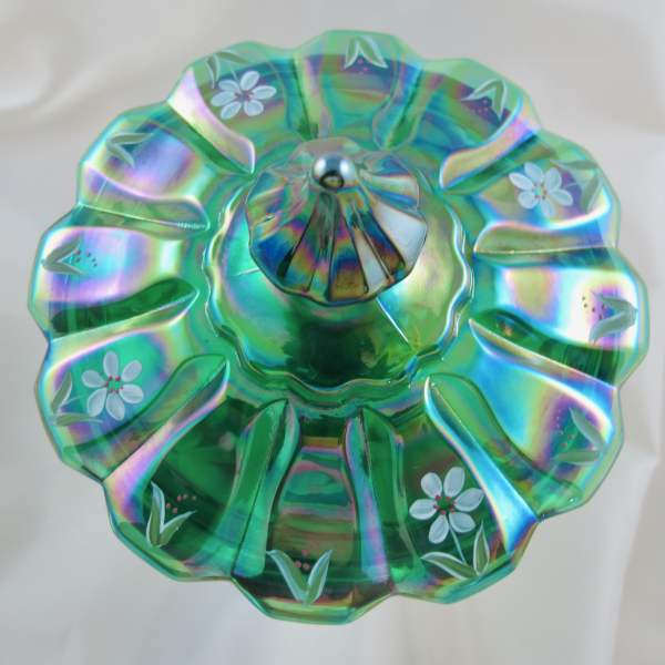 Fenton Spruce Green Painted Carnival Glass Lidded Candy Dish - Ltd Edition
