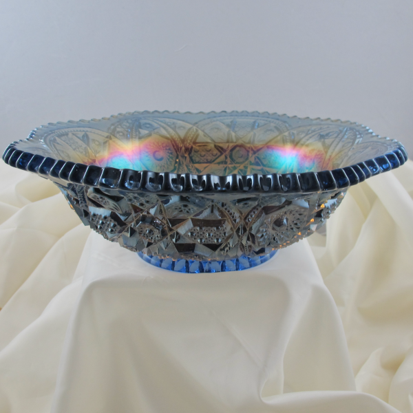 Antique Imperial Blue Wheels Carnival Glass Flared Bowl - Rare (Powder blue?)