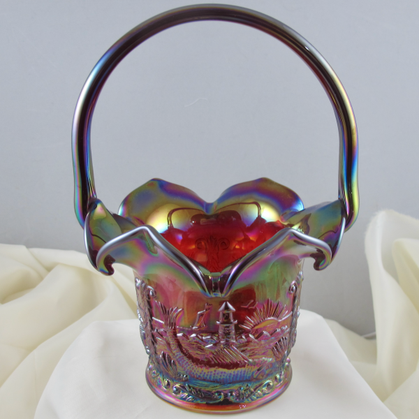 Fenton Ruby Red Seacoast Carnival Glass Whimsey Basket OOAK
