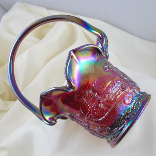Fenton Ruby Red Seacoast Carnival Glass Whimsey Basket OOAK