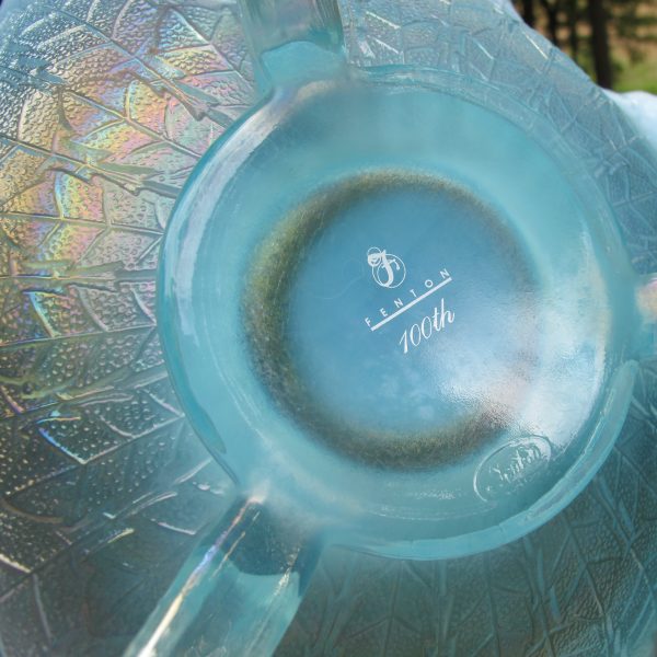 Fenton Ice Blue Opal Leaf Tiers Carnival Glass Large Bowl