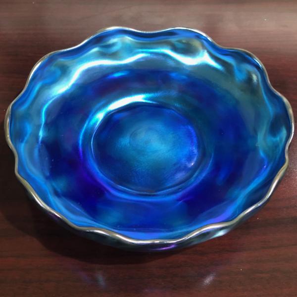 Antique LCT Louis Comfort Tiffany Blue Favrile Art Glass Bowl #1277 Signed