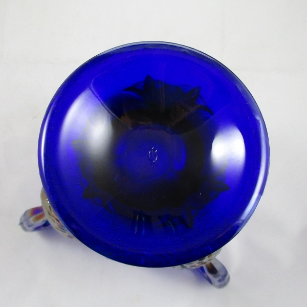 Imperial Blue 3 Swans Carnival Glass Vase