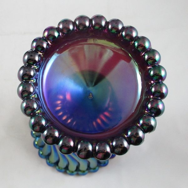 LE Smith Purple Ball & Swirl Carnival Glass Vase