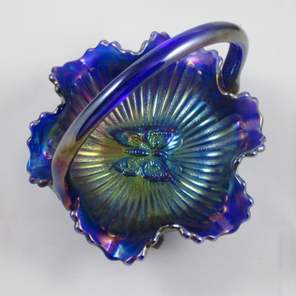 Fenton Marigold Cobalt Butterfly Carnival Glass Handled Basket