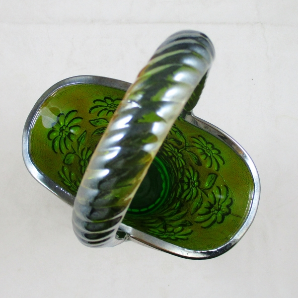 Imperial Green Daisy Carnival Glass Handled Basket