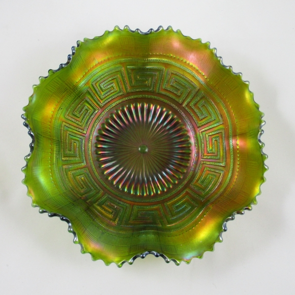 Antique Northwood Green Greek Key Carnival Glass Bowl
