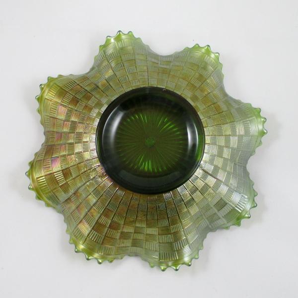 Antique Northwood Green Greek Key Carnival Glass Bowl