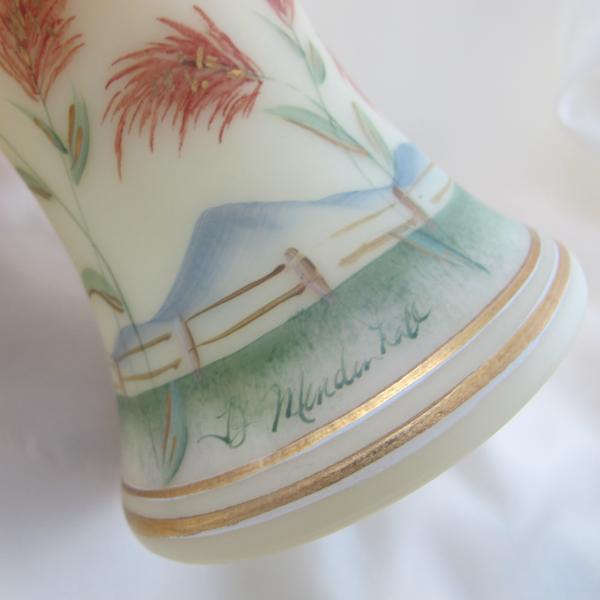 Fenton Bluebird Handpainted Art Burmese Glass Basket - Limited - Family Signed