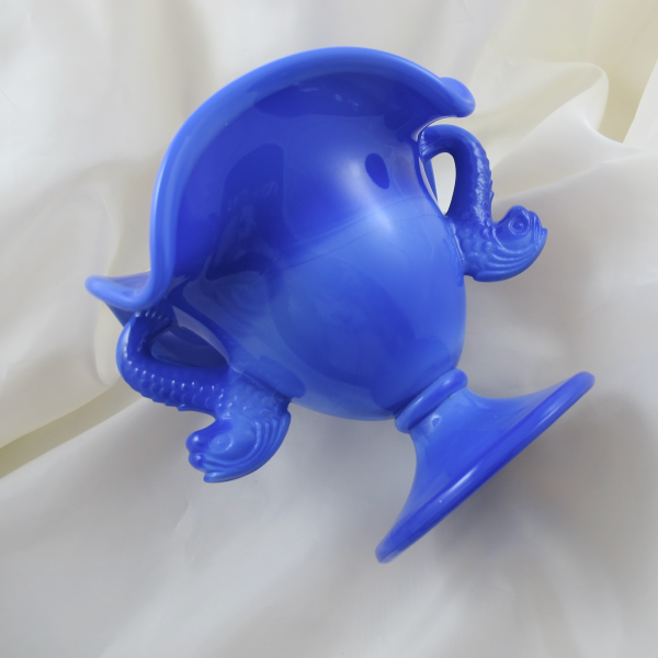 Fenton Periwinkle Blue Double Dolphins Slag Art Glass Ruffled Vase Compote