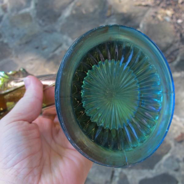 Antique Dugan Aqua Sapphire Blue Spiralex Carnival Glass Vase