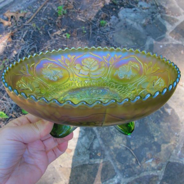 Antique Fenton Apple Green Dragon & Lotus Carnival Glass Bowl