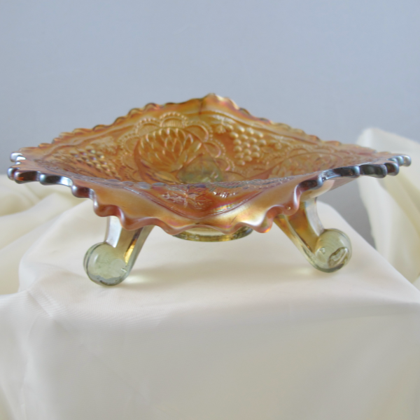 Antique Fenton Lotus & Grape Smoke Carnival Glass JIP Bowl - RARE
