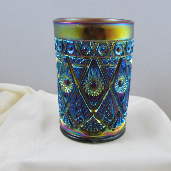 Antique Imperial Diamond Lace Amethyst Carnival Glass Tumbler