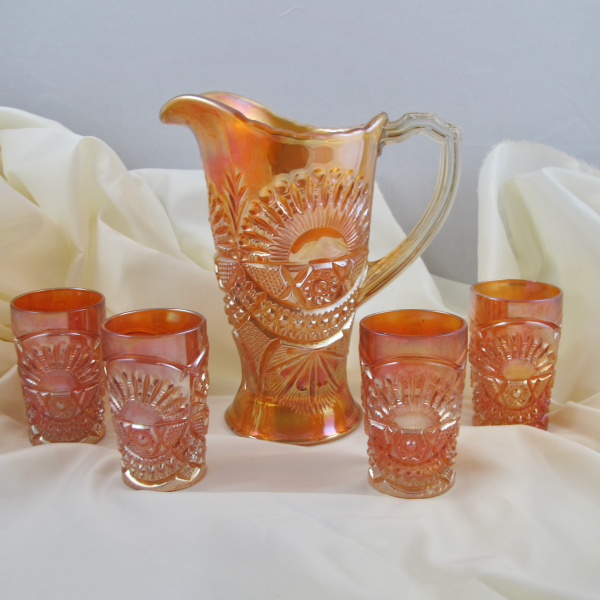 Antique US Glass? Rising Sun Marigold Carnival Glass Juice Set