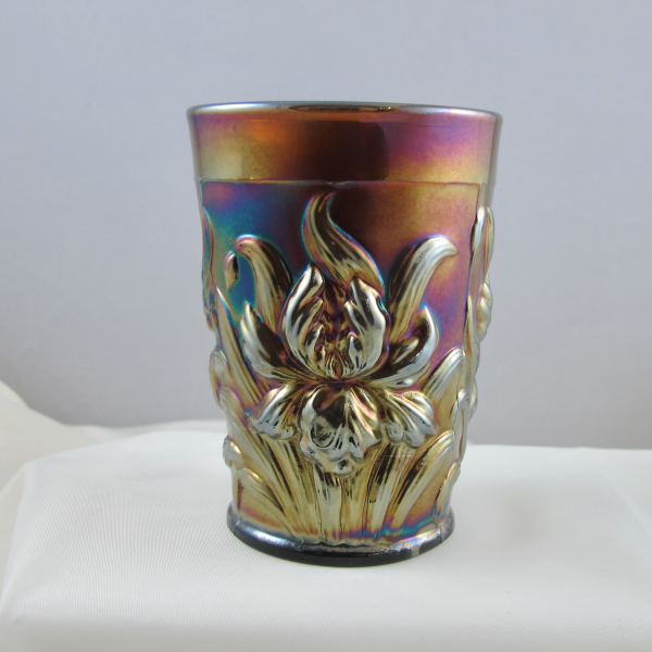 Antique Dugan Lavender Heavy Iris Carnival Glass Tumbler
