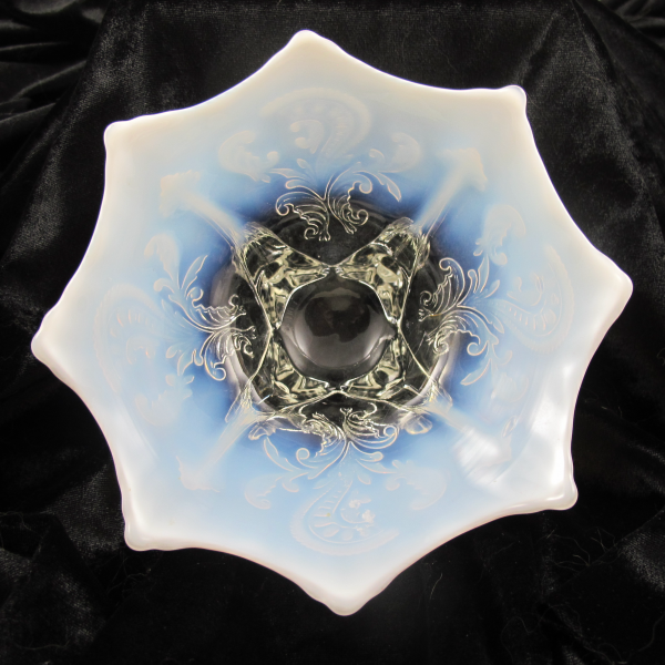 Antique Dugan White Opal Inverted Fan & Feather Opalescent Glass Flared Bowl or Card Tray