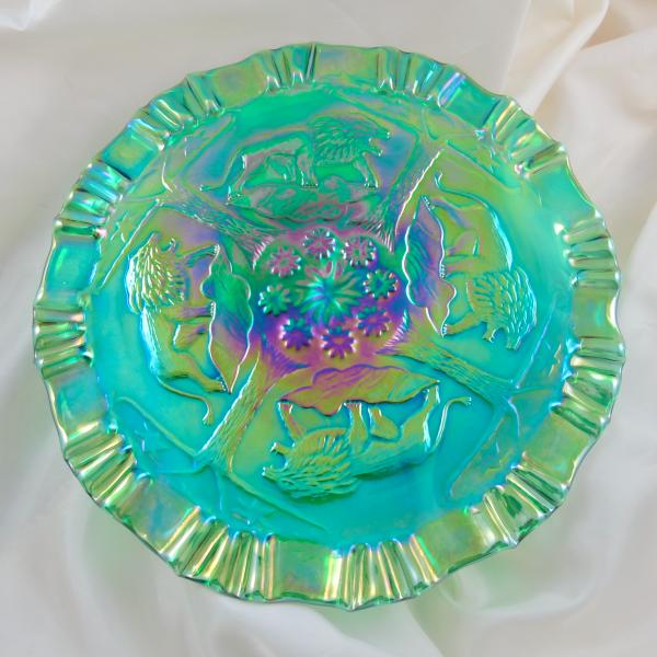 Fenton Emerald Green Lions Fenton's Flowers Carnival Glass 3n1 Plate