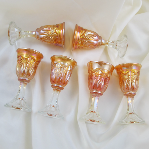 Antique Star & Fan Marigold Carnival Glass Cordial Set – Decanter w Undertray