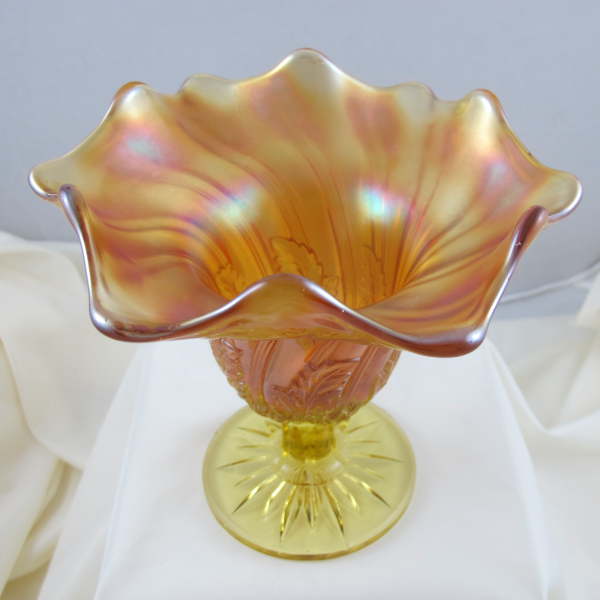 Antique Westmoreland Leaf Swirl Yellow Carnival Glass Compote