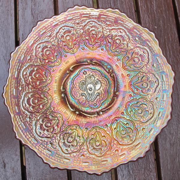 Antique Fenton Persian Medallion Pumpkin Marigold Carnival Glass Plate