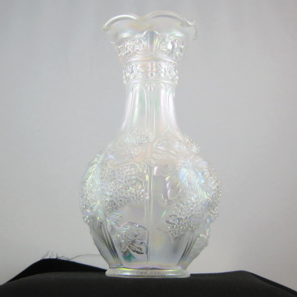 Imperial White Loganberry Carnival Glass Large Vase