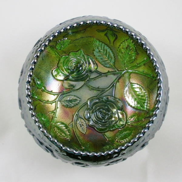 Imperial Open Rose Green Carnival Glass Rose Bowl