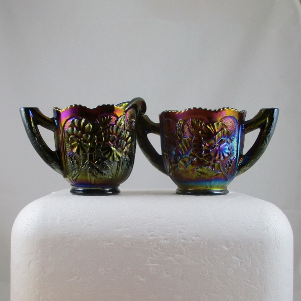 Antique Imperial Purple Pansy Carnival Glass Creamer & Sugar Set