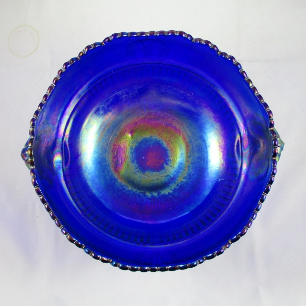Imperial Blue Ram's Head Carnival Glass Console Bowl
