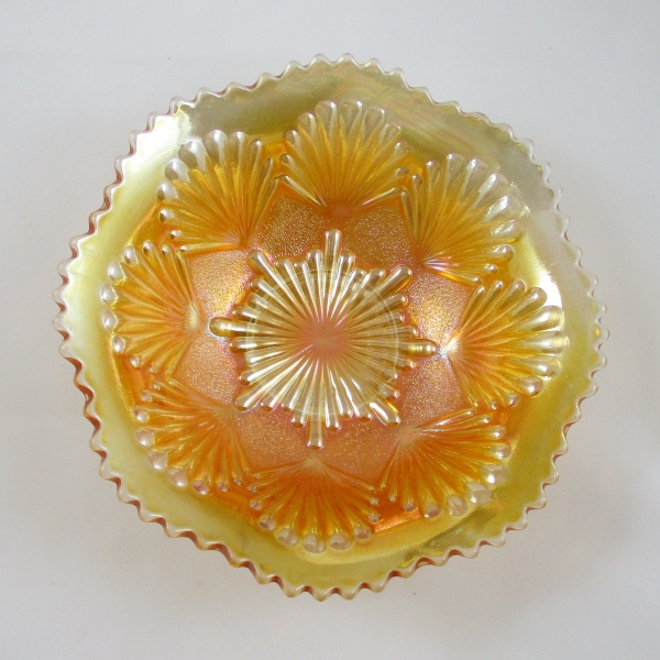 Antique Imperial Marigold Shell & Sand Carnival Glass Bowl