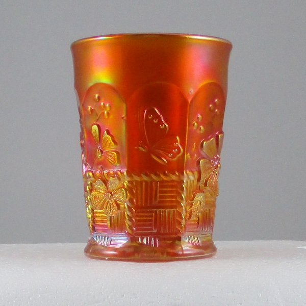 Antique Northwood Springtime Pumpkin Marigold Carnival Glass Tumbler