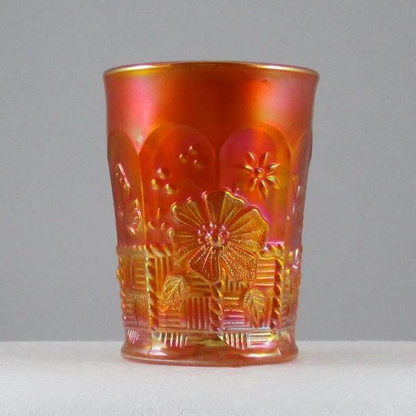 Antique Northwood Springtime Pumpkin Marigold Carnival Glass Tumbler