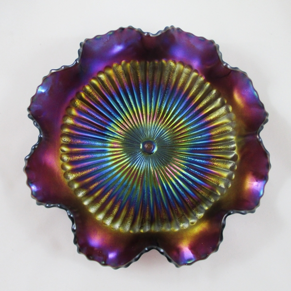 Antique Northwood Stippled Rays Amethyst Carnival Glass Ruffled Bowl