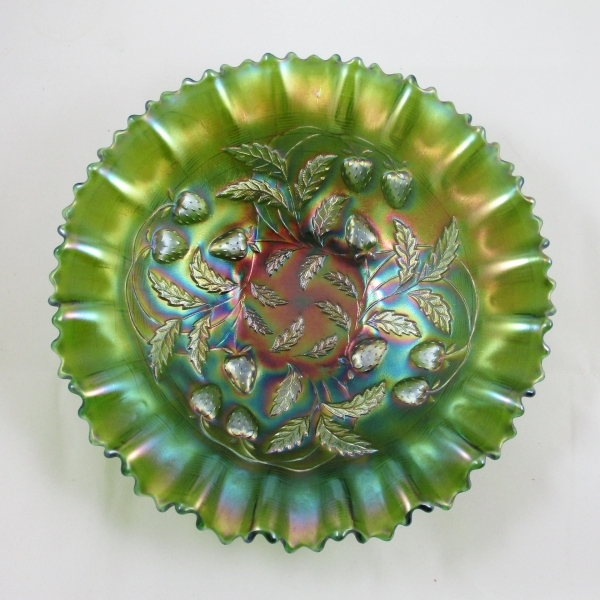 Antique Northwood Green Strawberry Carnival Glass PCE Bowl