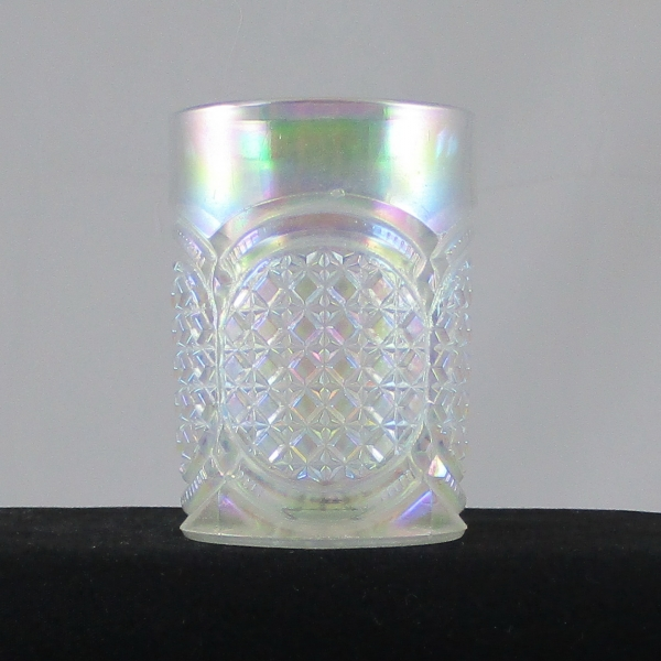 Terry Crider White Austrian EAPG Carnival Glass Tumbler Whimsy