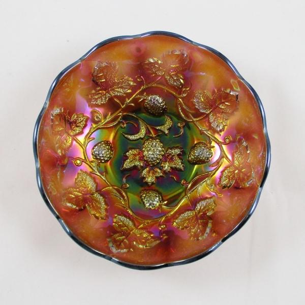 Antique Millersburg Amethyst Blackberry Wreath Carnival Glass Round Sauce Bowl